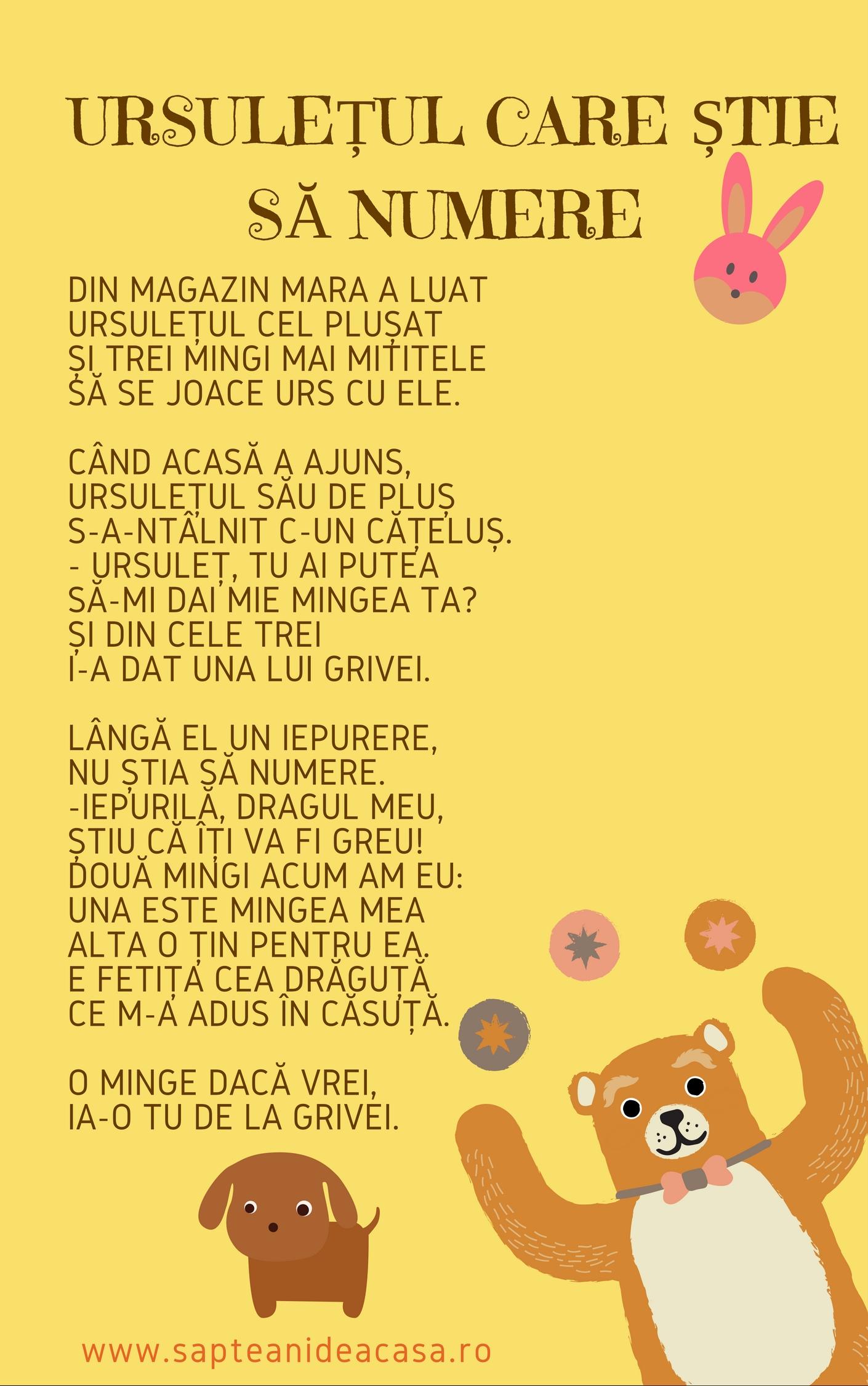 Poezie - Ursuletul care stie sa numere